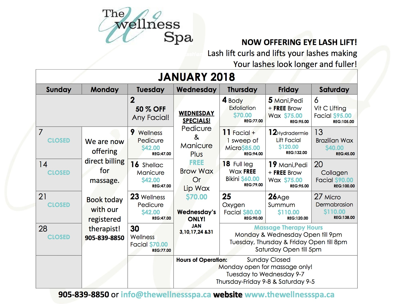 Daily Spa Specials, Spa in pickering,