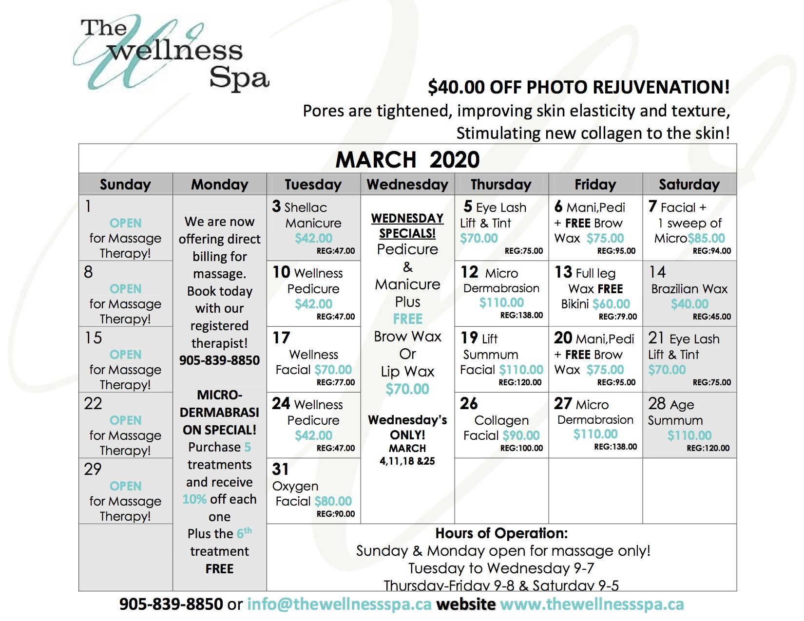 March Daily Spa Deals for the Wellness Spa in Pickering