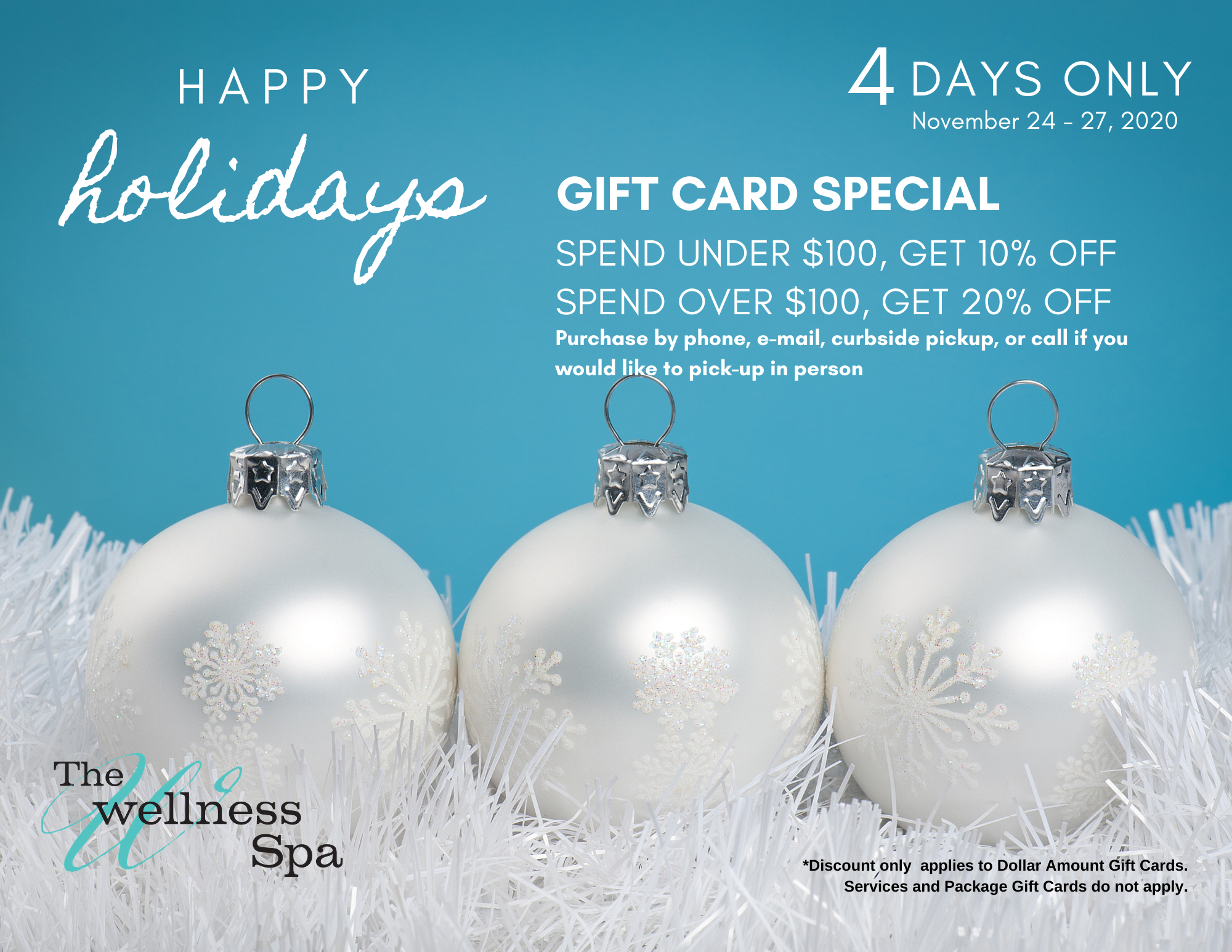 The Wellness Spa Gift Card Promotion.